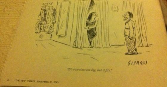 """It's two sizes too big but it fits!"" Geniale vignetta del New Yorker"
